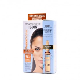 Fotoprotector Isdin Fusion Water SPF 50+ 50ml+ 1 Ampolla Hyaluronic Booster de Regalo